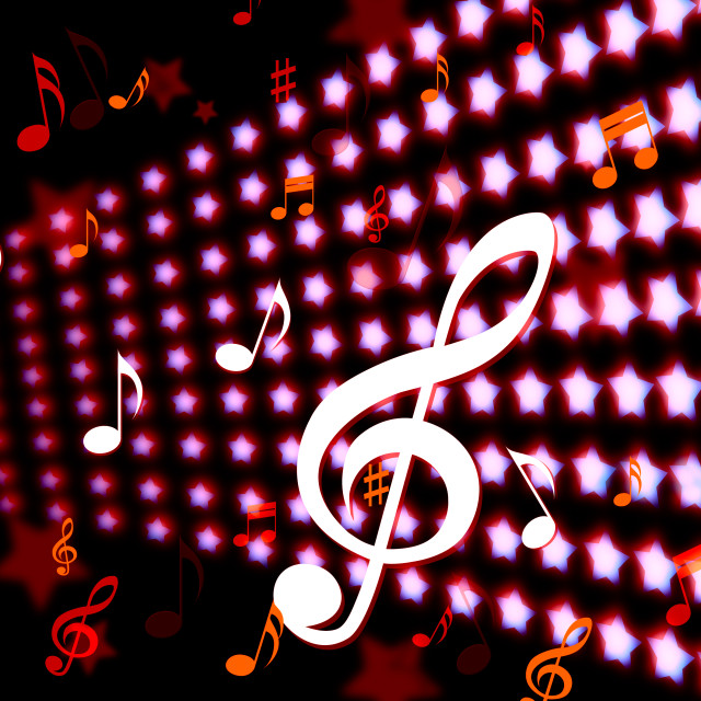 """""""Background Notes Indicates Music Sheet And Clef"""" stock image"""