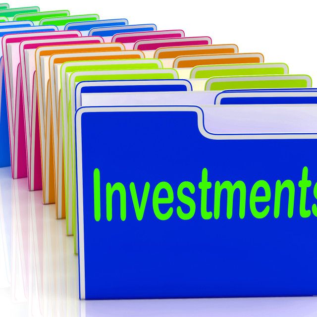 """""""Investments Folders Show Financing Investor And Returns"""" stock image"""