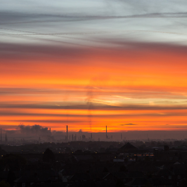 """Stanlow Refinery Dawn"" stock image"