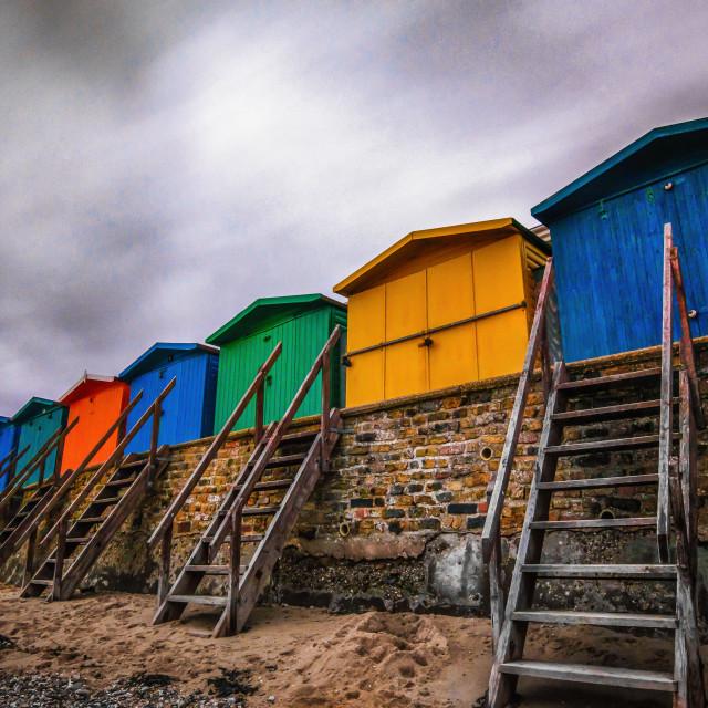 """Walton Stairway Coloured Beach Huts"" stock image"