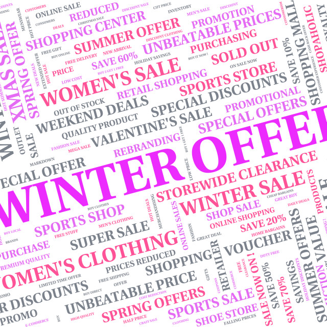 """Winter Offer Indicates Bargains Sale And Words"" stock image"