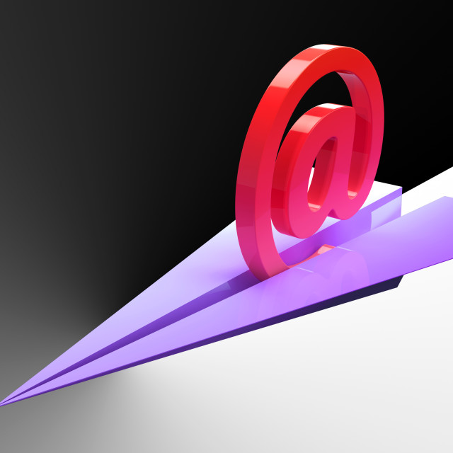 """At Sign Aeroplane Shows Correspondence Mail Send"" stock image"