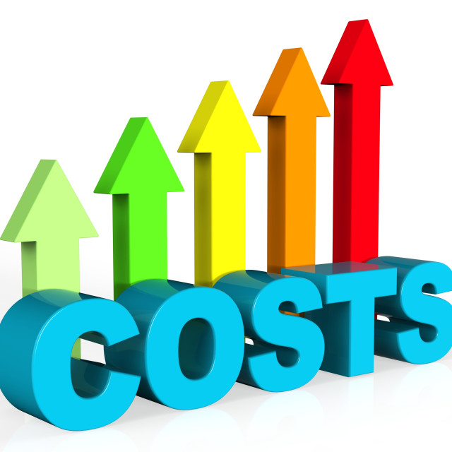 """Increase Costs Shows Finances Outlay And Rise"" stock image"