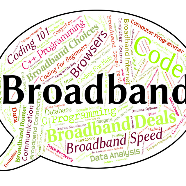 """Broadband Word Represents World Wide Web And Communication"" stock image"