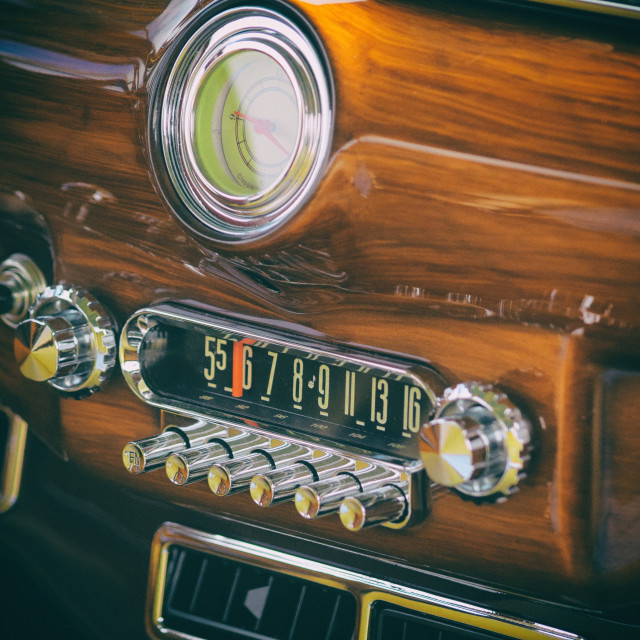 """Vintage Car Stereo and Clock"" stock image"