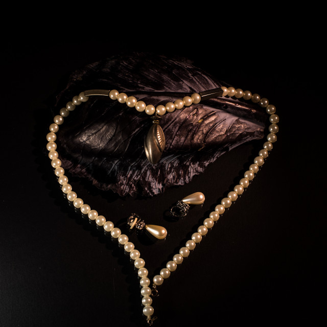 """""""pearl necklace in shape of heart"""" stock image"""