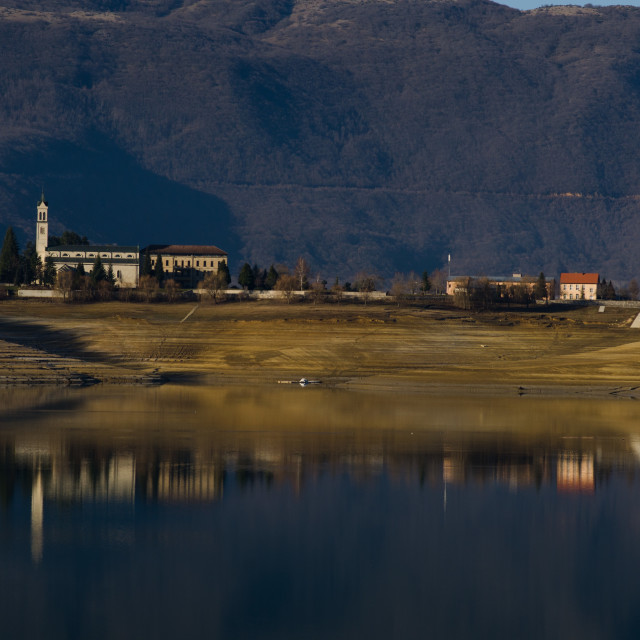 """""""reflection of the monastery in lake"""" stock image"""