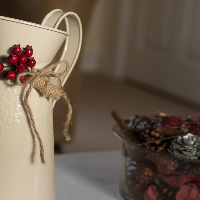 """Festive vintage enamel jug"" stock image"