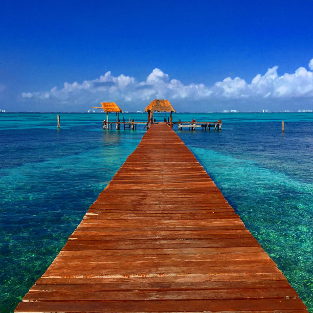 """""""A dock in Isla Mujeres, Mexico"""" stock image"""