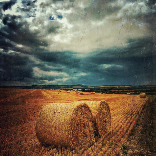 """Storm approaching farmland"" stock image"