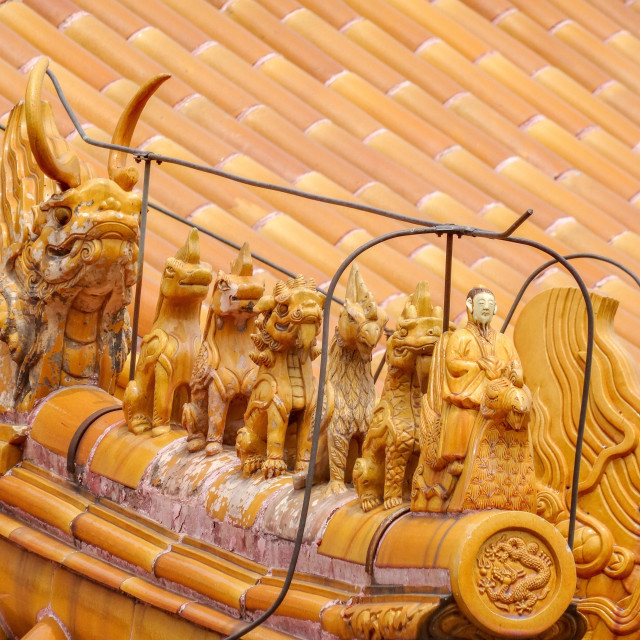 """Emperor decorations on roofs of forbidden city buildings"" stock image"