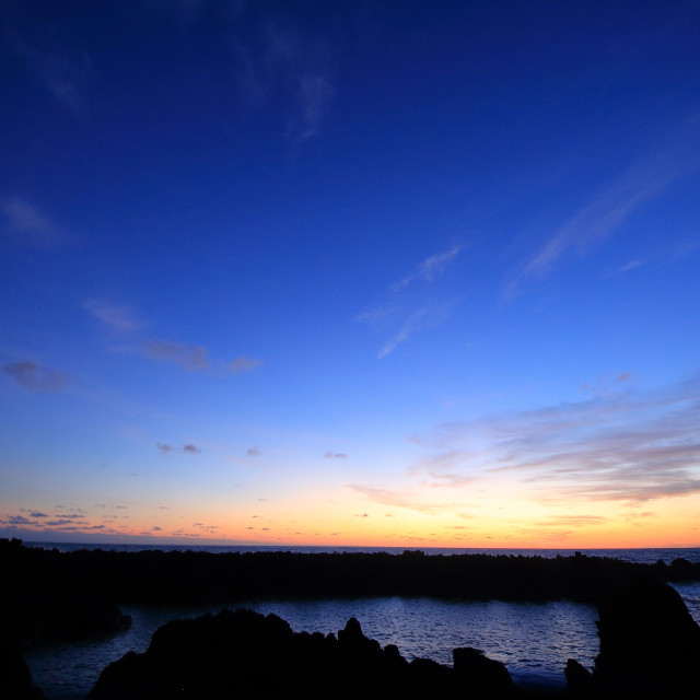 """Sunset at Faja Grande"" stock image"