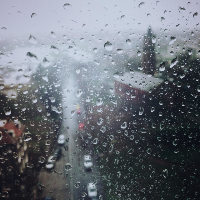"""""""Gosport, UK. Rain on a window over looking Gosport town from above"""" stock image"""