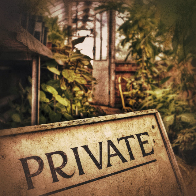 """Private ! An abandoned greenhouse"" stock image"