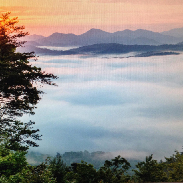 """Great Smoky Mountains National Park with fog covered valley. Tennessee."" stock image"