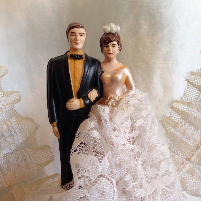 """Vintage wedding cake topper"" stock image"