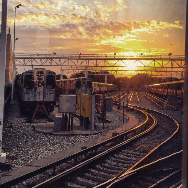 """Sunset over train tracks"" stock image"
