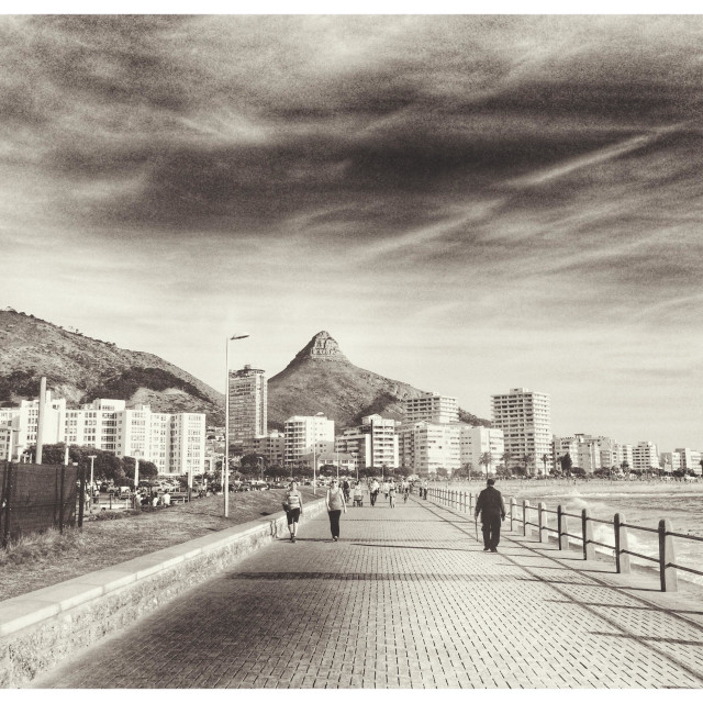 """""""Seapoint promenade , Cape Town, South Africa."""" stock image"""