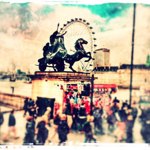 """Boudicca Statue, Westminster Bridge, City of Westminster, Central London, England, United Kingdom, Europe"" stock image"