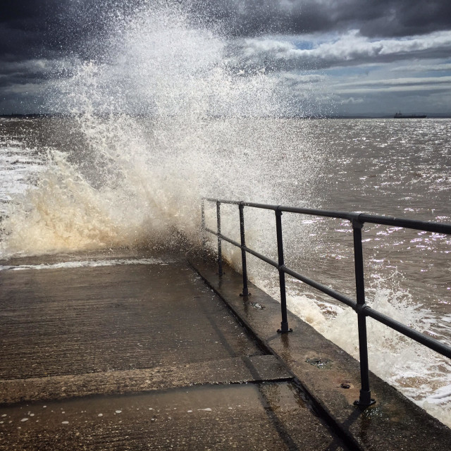 """""""High Tide at Crosby Beach"""" stock image"""