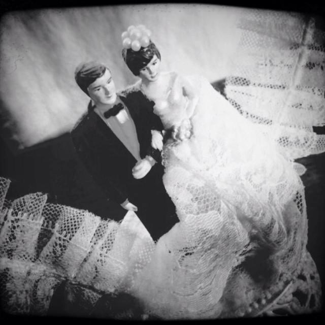 """Vintage wedding couple cake topper"" stock image"