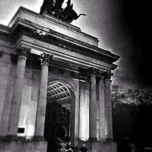"""Wellington Arch, Hyde Park Corner, City of Westminster, Central London, England, United Kingdom, Europe"" stock image"