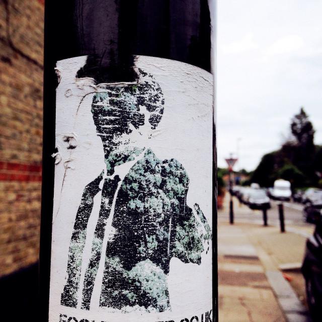 """Pulp fiction lamppost sticker"" stock image"