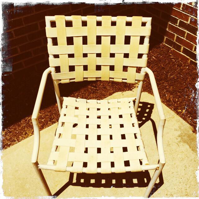"""""""Old plastic weathered chair"""" stock image"""