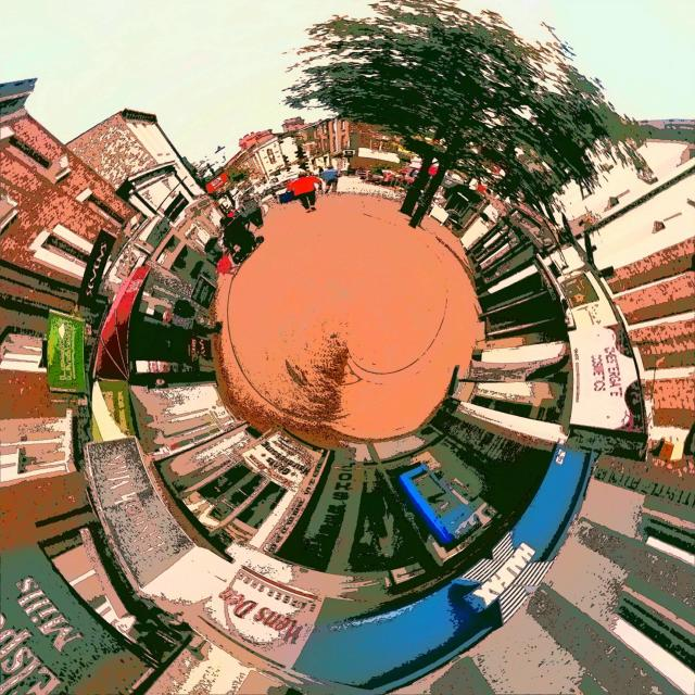 """Macclesfield market place little planet twirl drawing"" stock image"
