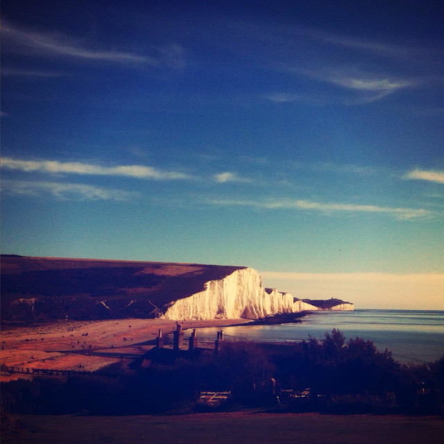 """The cliffs at cuckmere haven in Sussex"" stock image"
