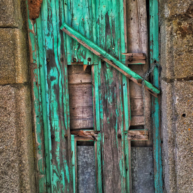 """Old green door"" stock image"