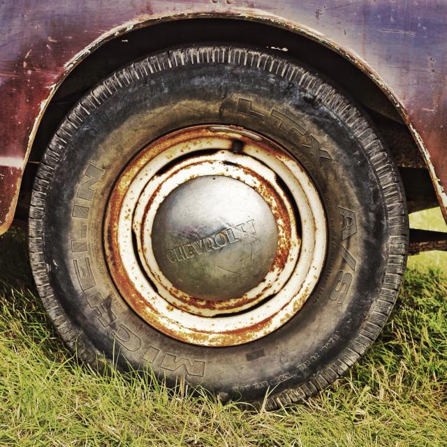 """Old car wheel"" stock image"