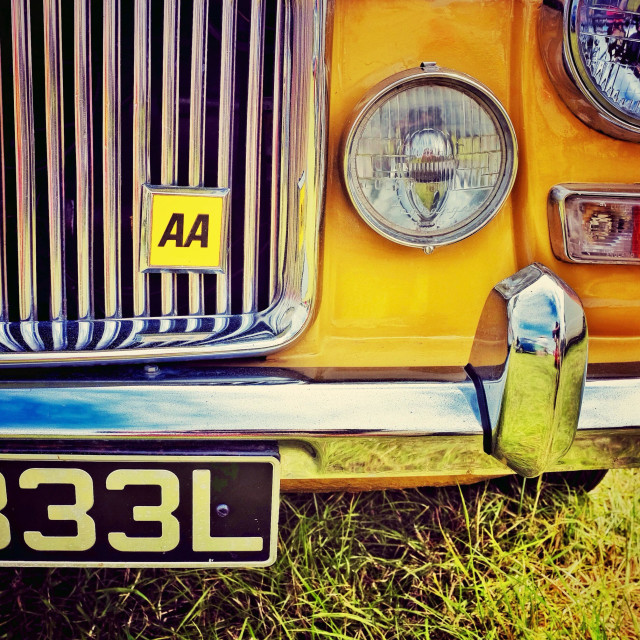 """A classic car front detail with an AA badge"" stock image"