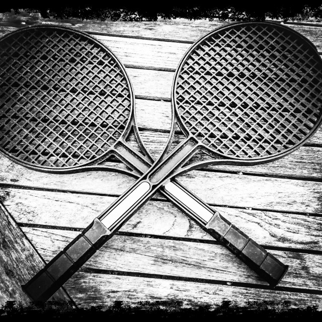 """""""Two tennis rackets black and white"""" stock image"""