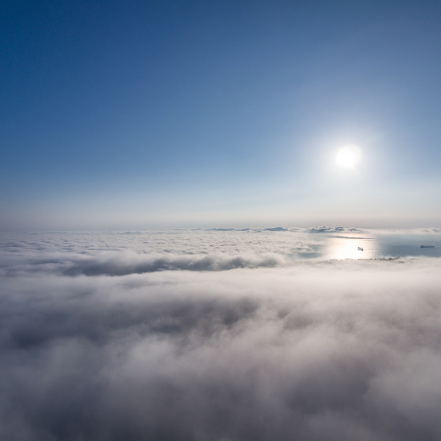 """""""Beautiful white clouds under sunshine, shot with drone"""" stock image"""