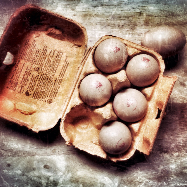 """""""Box of free range eggs with grunge filter applied"""" stock image"""