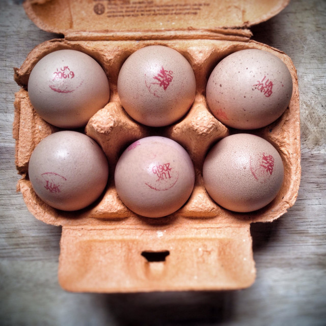 """Free range eggs in a box"" stock image"