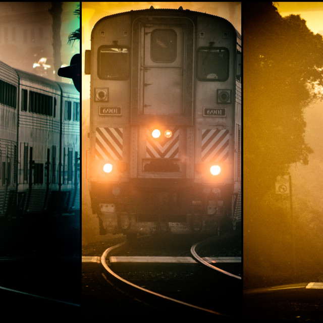 """Amtrak - Surfliner - Triptych"" stock image"