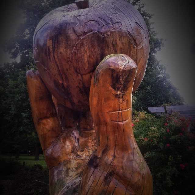 """""""Chainsaw sculpture of hand holding apple with world map etched on it"""" stock image"""