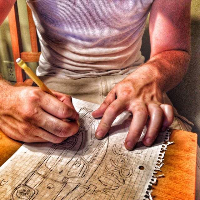 """""""An artist drawing a picture (2)"""" stock image"""