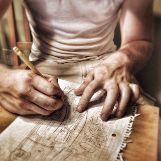 """""""An artist drawing a picture (8)"""" stock image"""