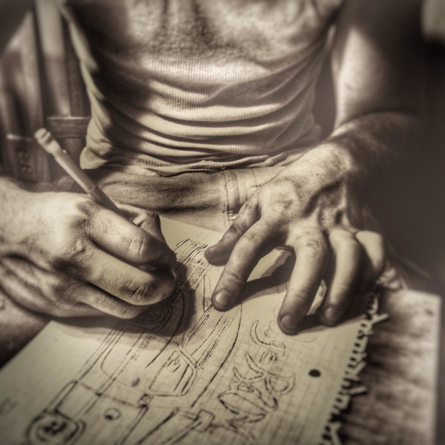 """""""An artist drawing a picture (10)"""" stock image"""