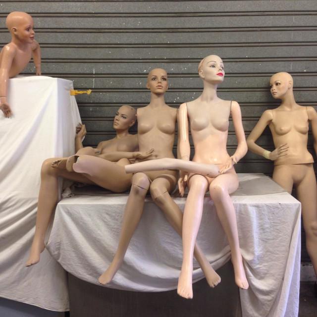 """Mannequins in Paris flea market"" stock image"