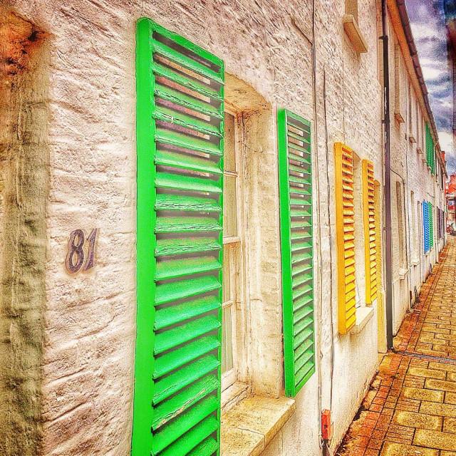 """Colourful shutters in Sheen, London."" stock image"