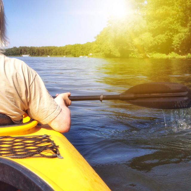"""Kayaking on the river"" stock image"