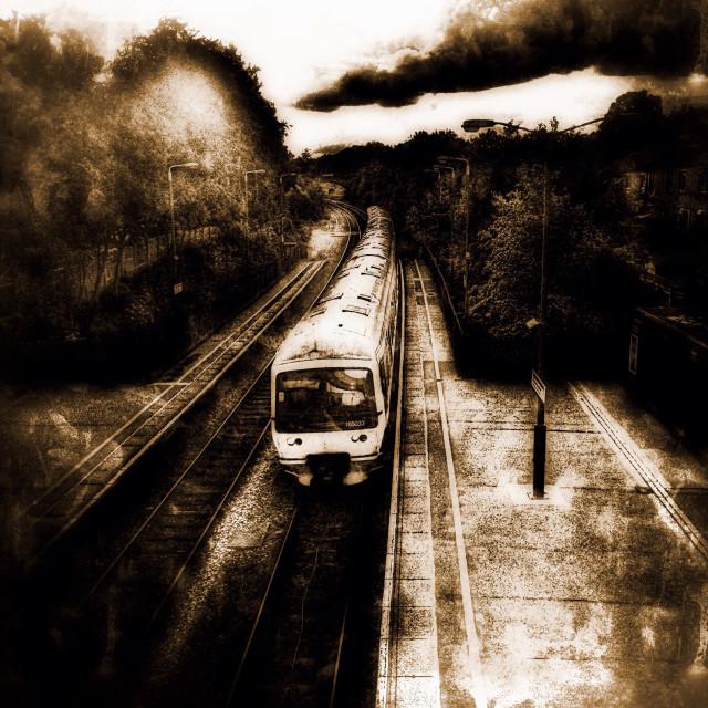 """Train in transit, Sudbury Hill & Harrow train station, London Borough of Harrow, North West London, England, United Kingdom"" stock image"