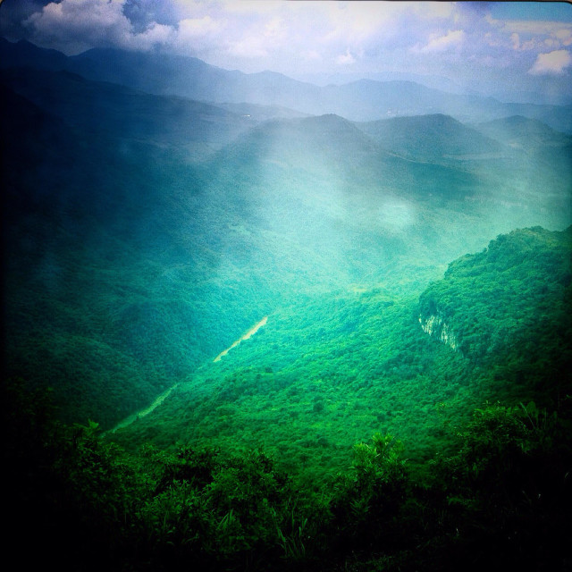 """""""View of the mountains in Jonotla, Cuetzalan, Sierra Madre of Puebla, Mexico"""" stock image"""