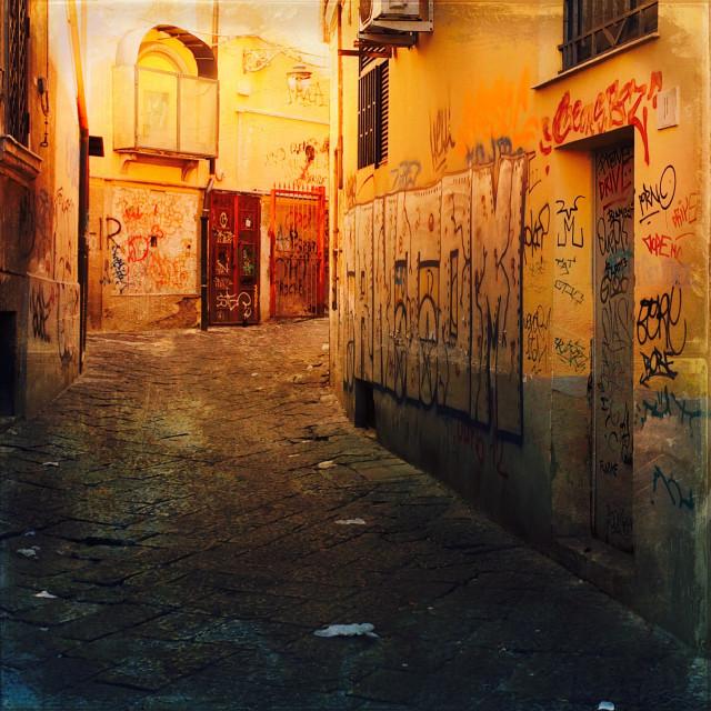 """Graffiti covered Naples street"" stock image"