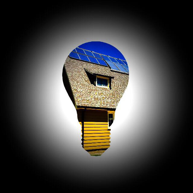 """Sustainable house icon"" stock image"