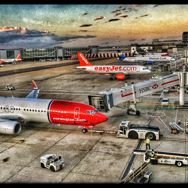 """""""Aerial View of Stationary Aircraft at Arrival and Departure Gates. London Gatwick Airport (LGW), England, UK. Photo Credit - COLIN HOSKINS."""" stock image"""